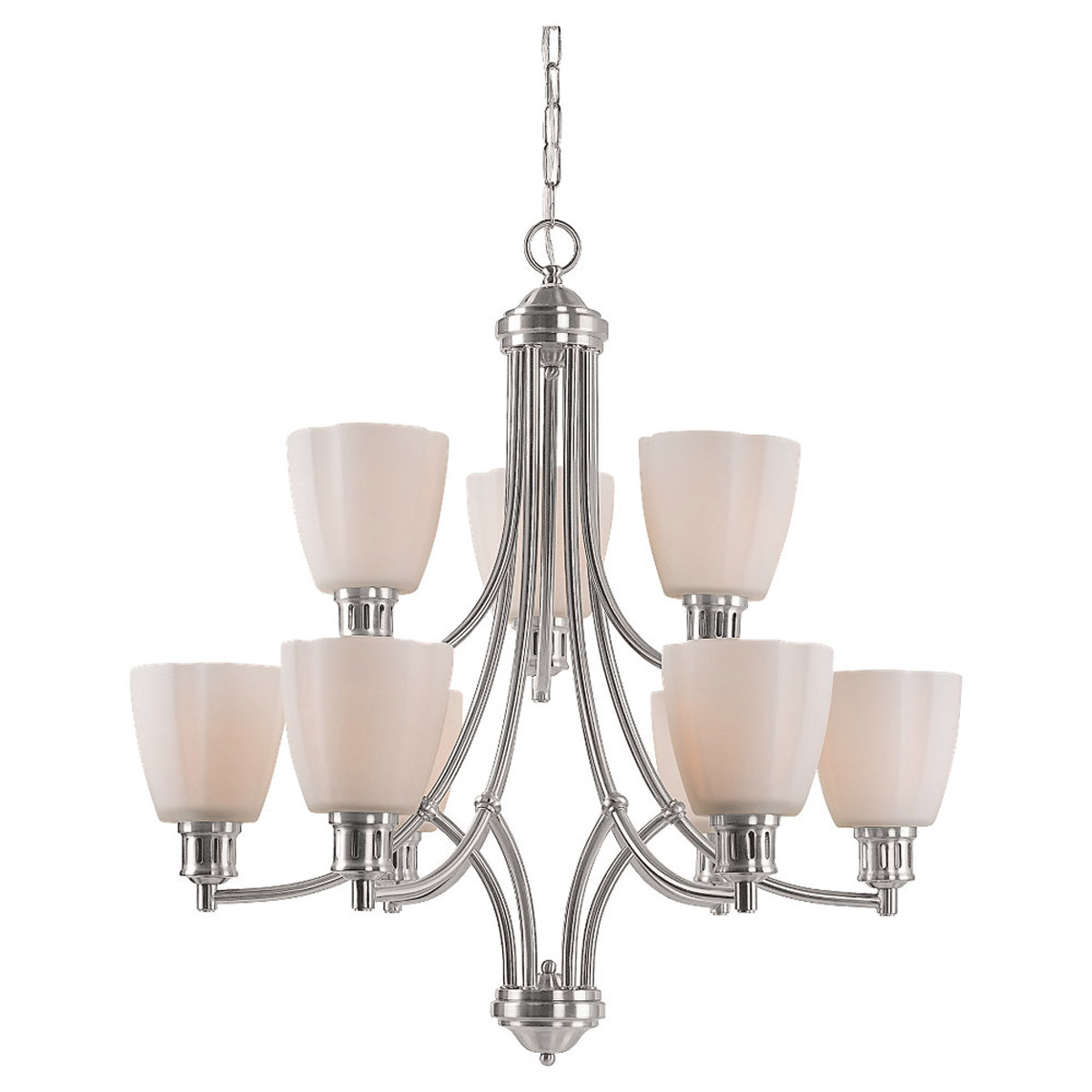 Sea Gull Lighting Century 9 Light Chandelier in Brushed Nickel 31477-962