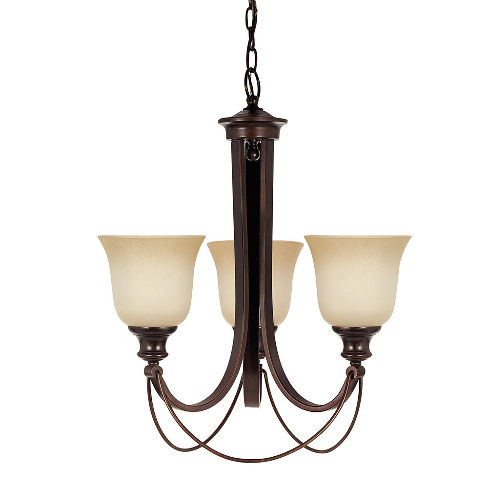 Sea Gull Park West 3 Light Chandelier Single-Tier in Burnt Sienna 31496BLE-710