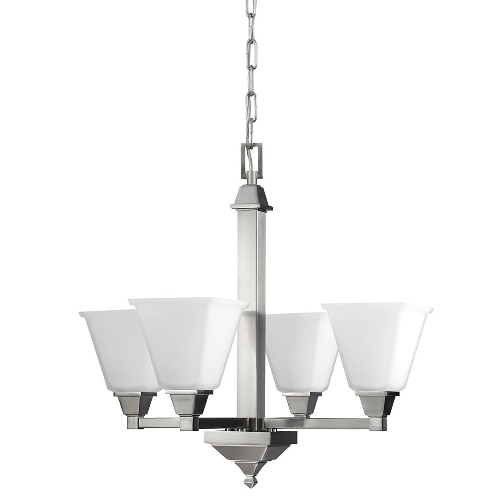 Sea Gull Denhelm 4 Light Chandelier Single-Tier in Brushed Nickel 3150404BLE-962