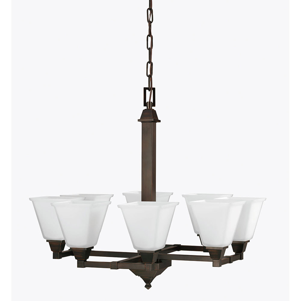 Sea Gull 3150408BLE-710 Denhelm 8 Light 28 inch Burnt Sienna Chandelier Single-Tier Ceiling Light in Fluorescent photo
