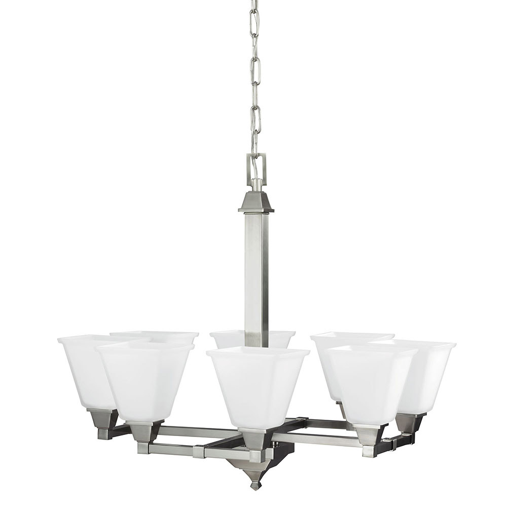 Sea Gull Denhelm 8 Light Chandelier Single-Tier in Brushed Nickel 3150408BLE-962