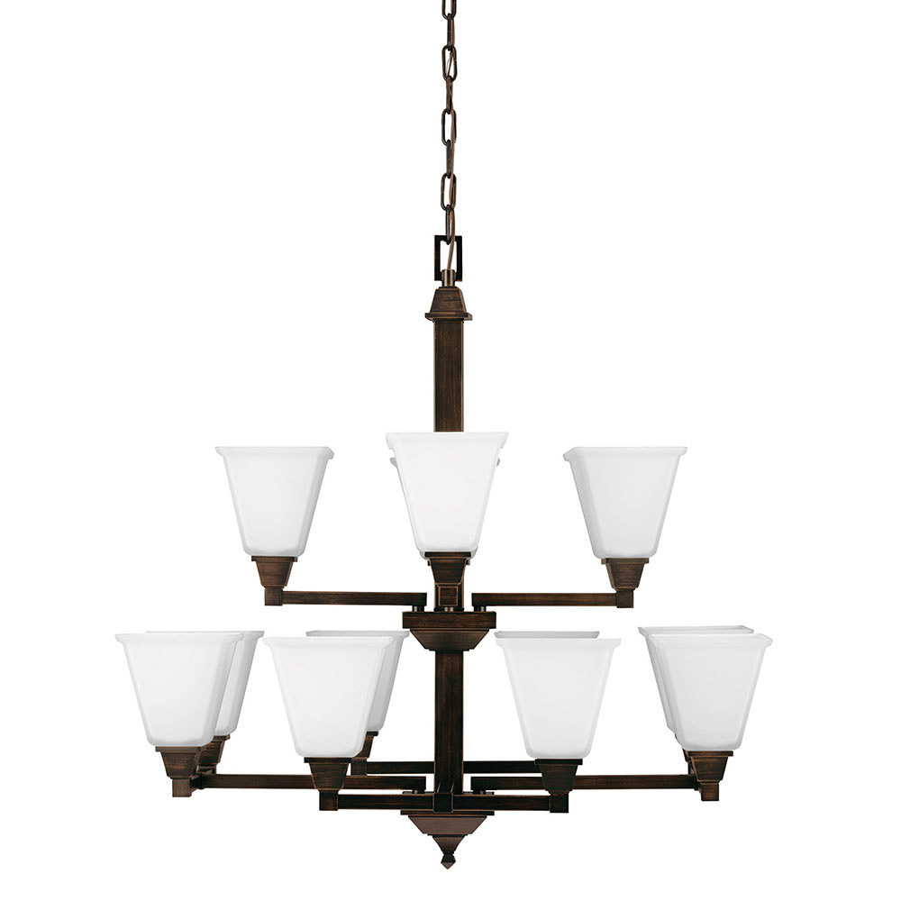 Sea Gull Denhelm 12 Light Chandelier Multi-Tier in Burnt Sienna 3150412BLE-710