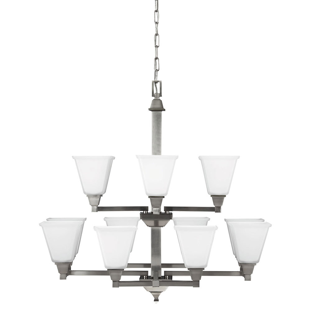 Sea Gull 3150412BLE-962 Denhelm 12 Light 32 inch Brushed Nickel Chandelier Multi-Tier Ceiling Light in Fluorescent photo