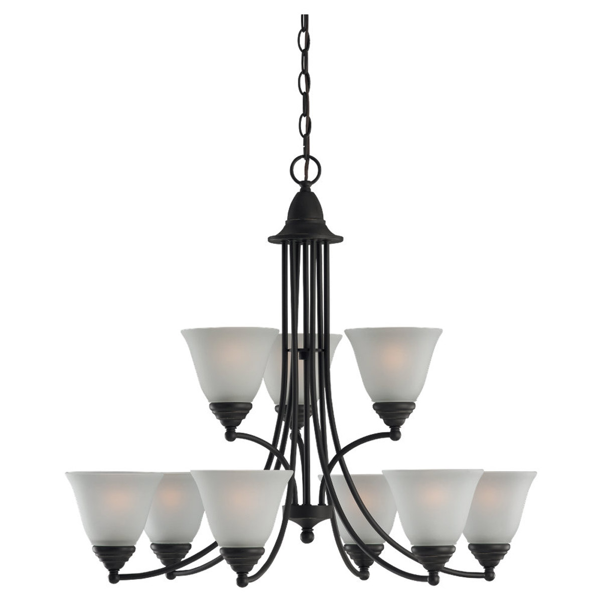 Sea Gull Lighting Albany 9 Light Chandelier in Heirloom Bronze 31577-782