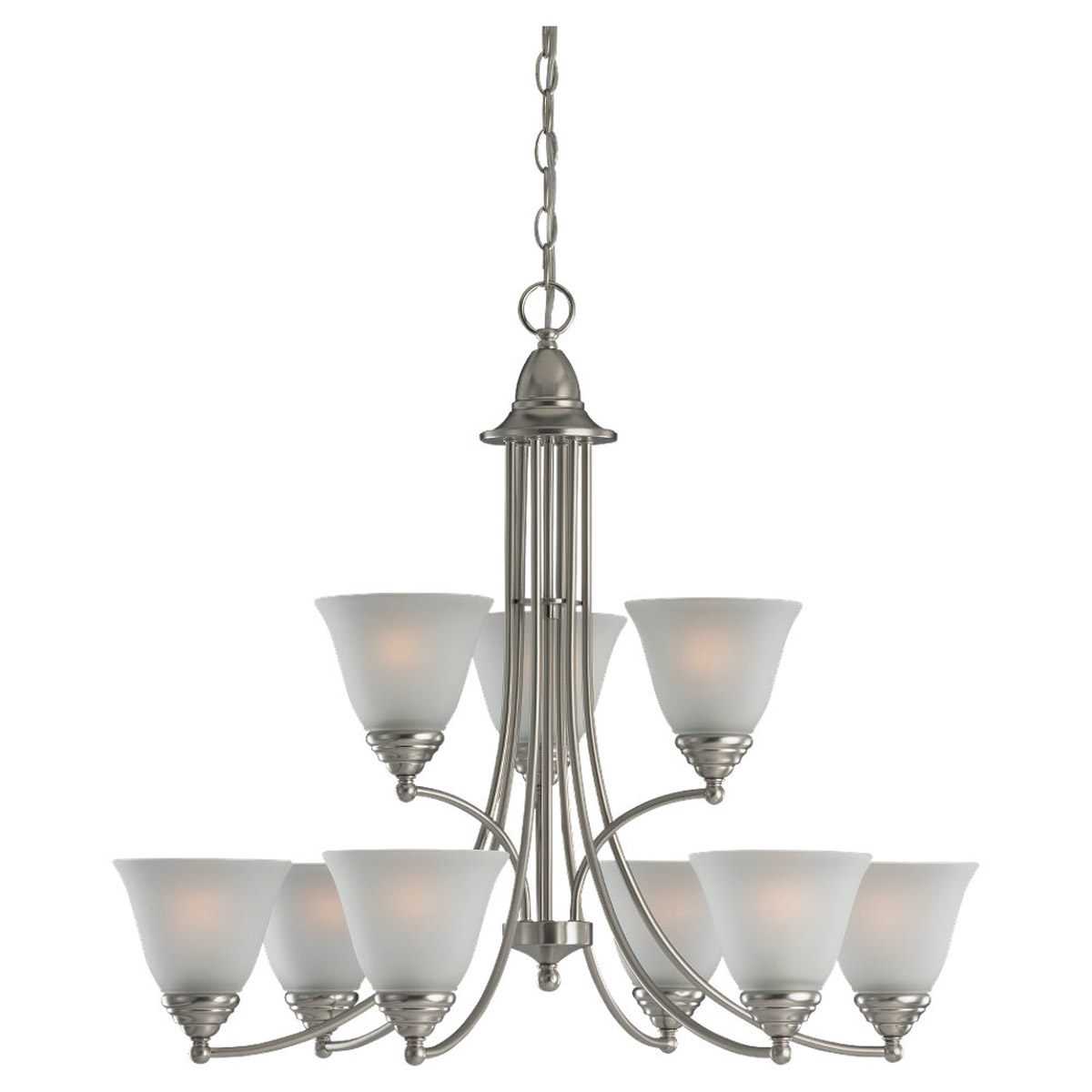 Sea Gull Lighting Albany 9 Light Chandelier in Brushed Nickel 31577-962