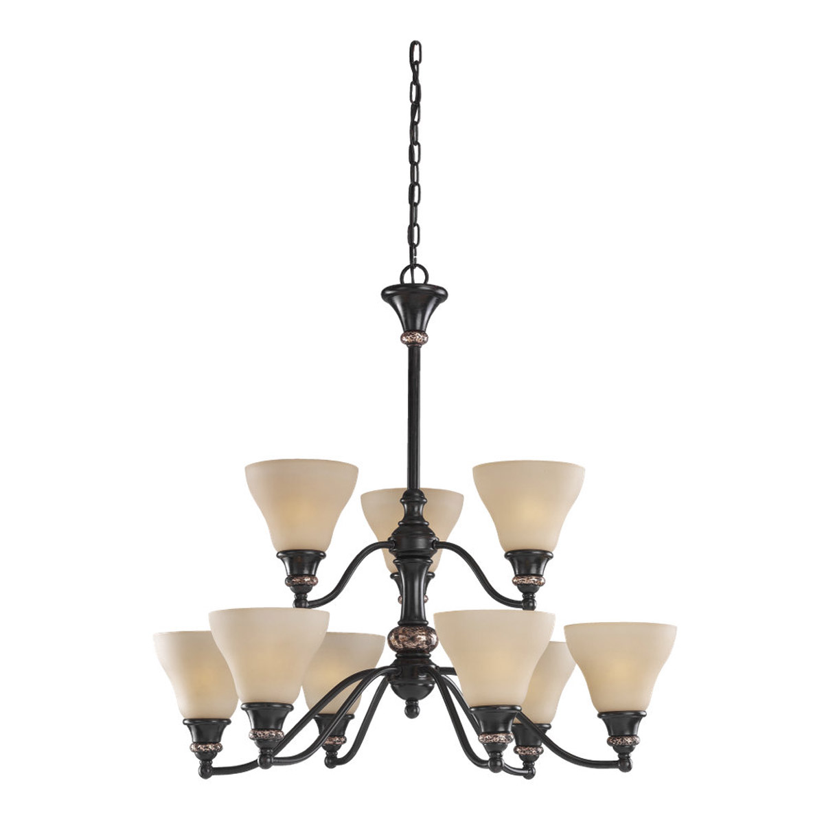 Sea Gull Lighting Brixham 9 Light Chandelier in Rustic Bronze with Hammered Copper Inlay 31593-844 photo