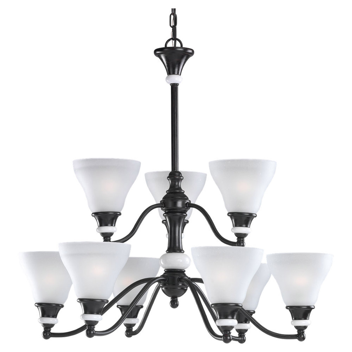 Sea Gull Lighting Brixham 9 Light Chandelier in Rustic Bronze with Ceramic Style Inlay 31593-855 photo