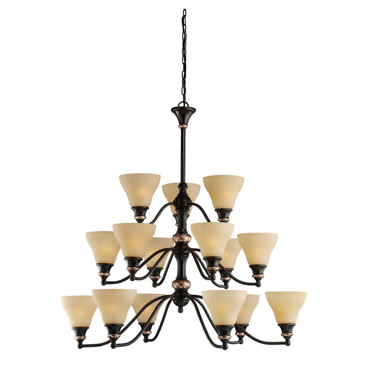 Sea Gull Lighting Brixham 15 Light Chandelier in Rustic Bronze with Hammered Copper Inlay 31594-844 photo