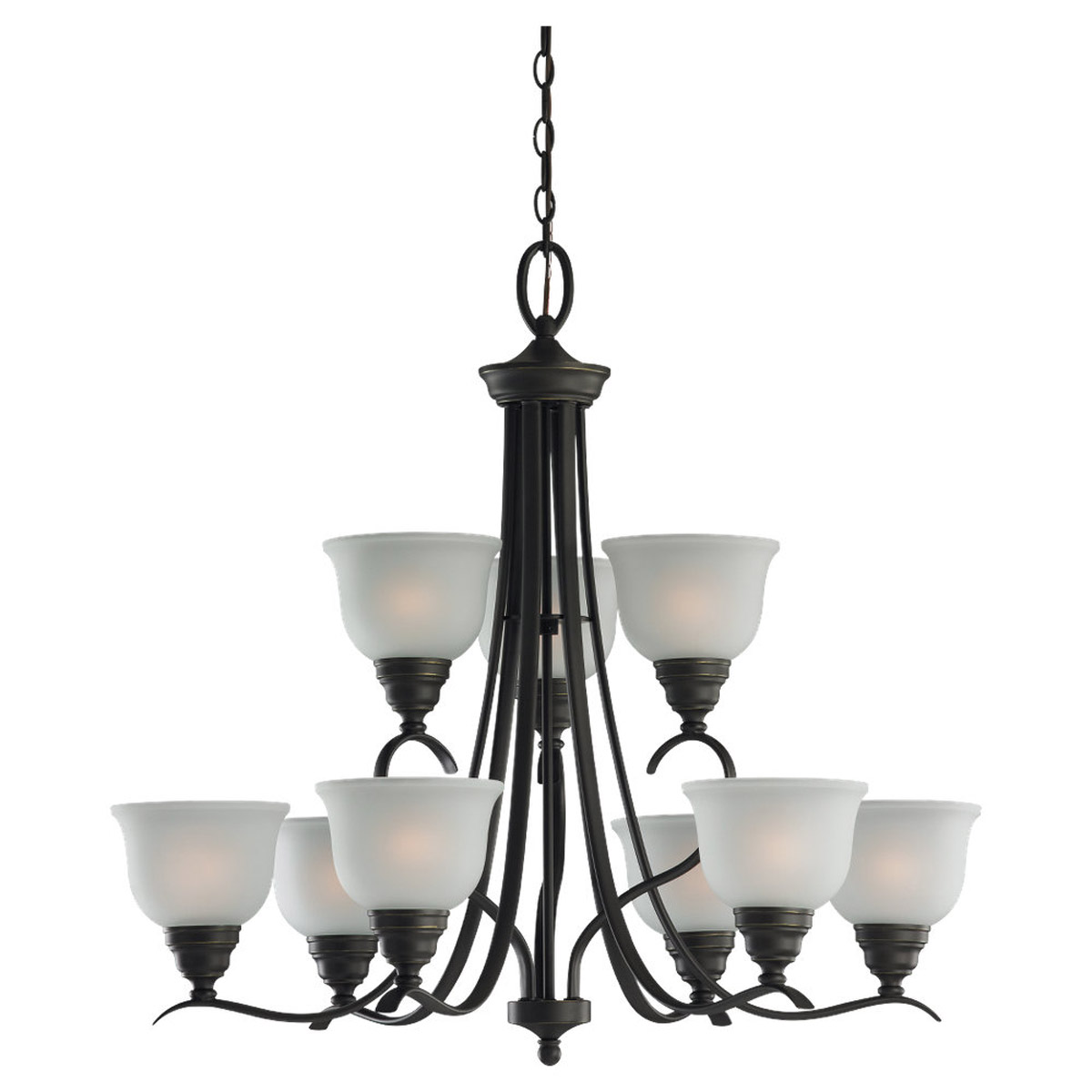 Sea Gull Lighting Wheaton 9 Light Chandelier in Heirloom Bronze 31627BLE-782 photo