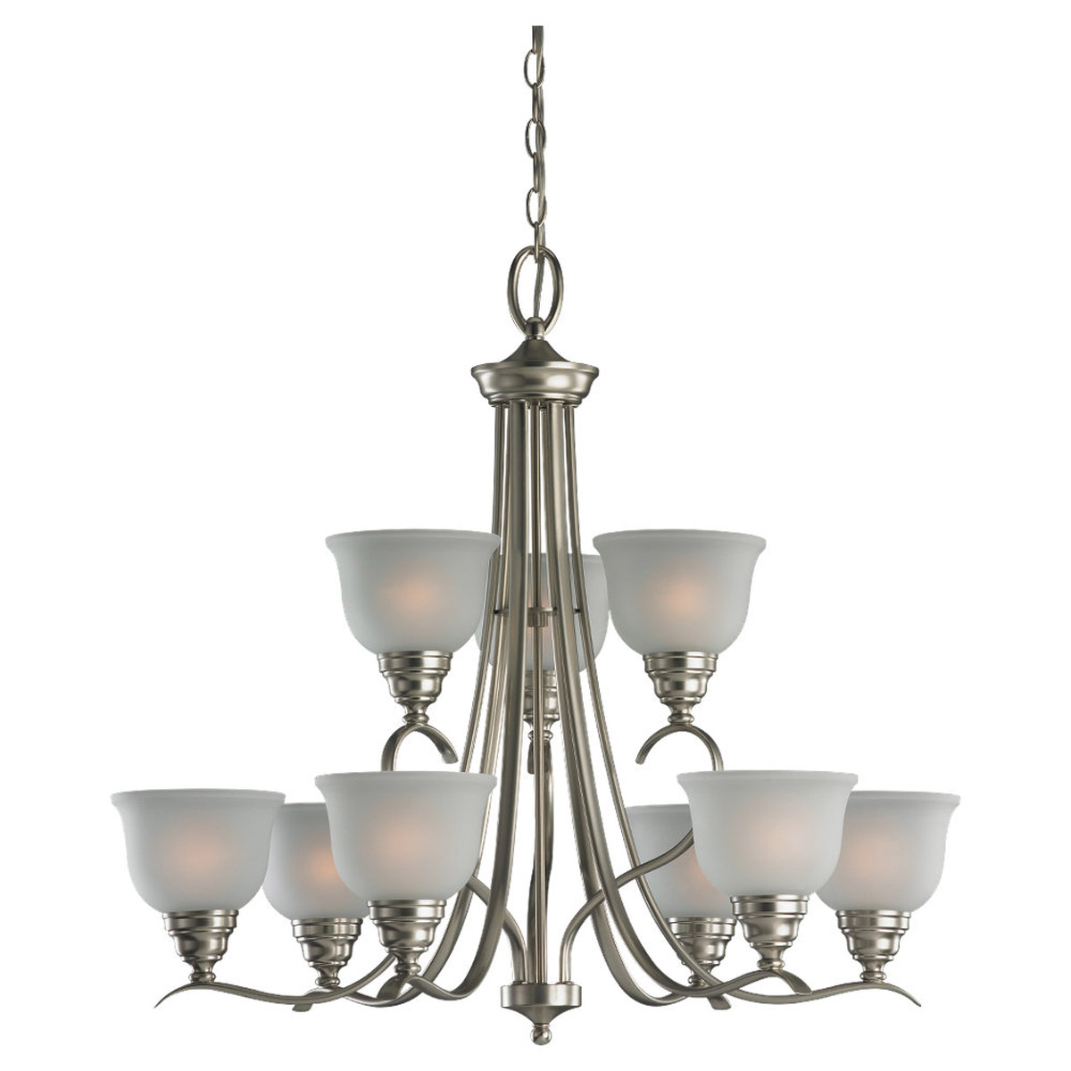 Sea Gull Lighting Wheaton 9 Light Chandelier in Brushed Nickel 31627BLE-962