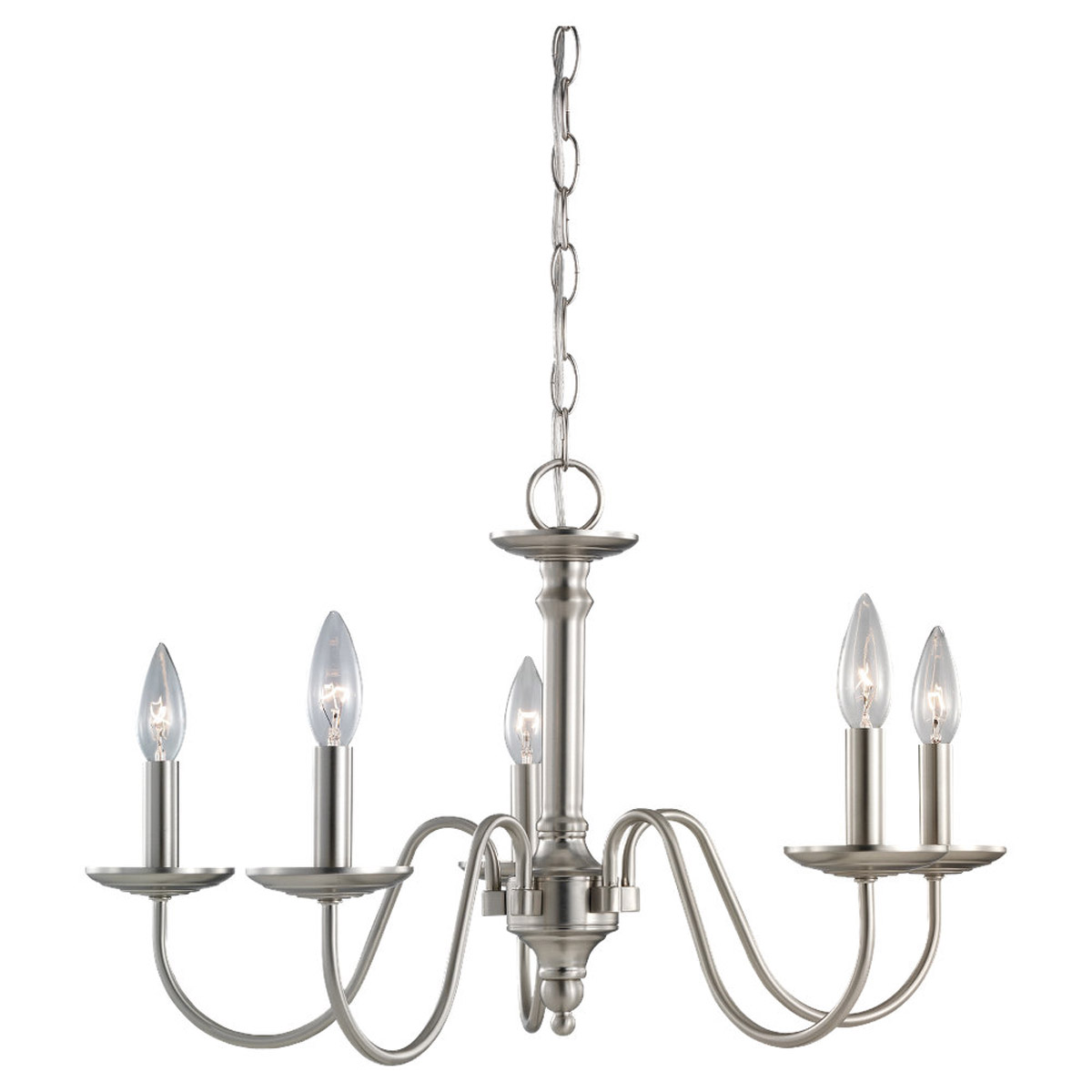 Sea Gull Lighting Wellington 5 Light Chandelier in Brushed Nickel 31656-962