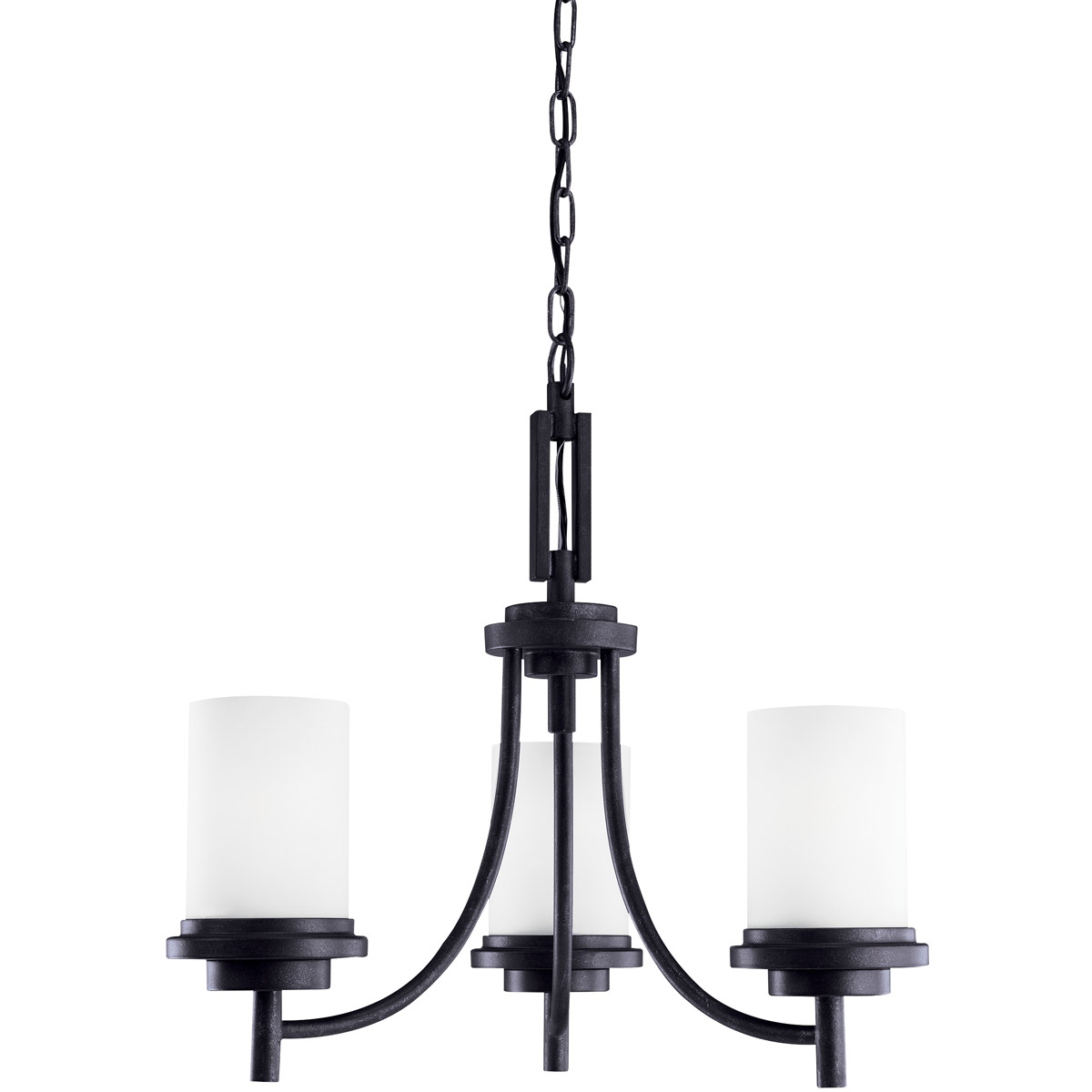 Sea Gull 31660BLE-839 Winnetka 3 Light 21 inch Blacksmith Chandelier Single-Tier Ceiling Light in Satin Etched Glass, Fluorescent photo