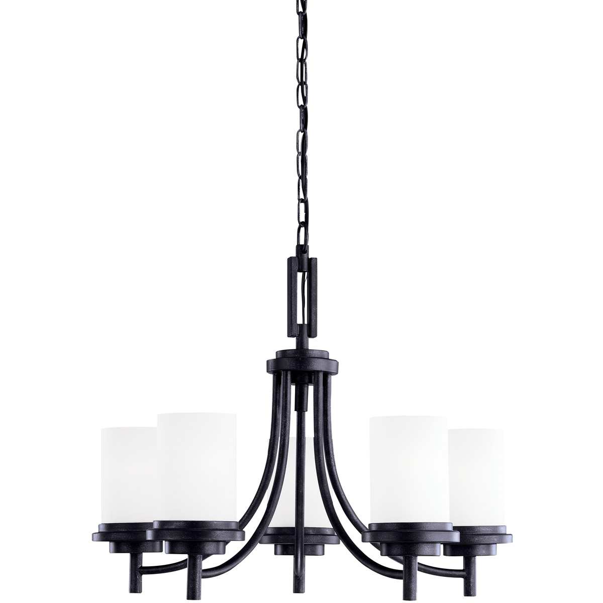 Sea Gull 31661BLE-839 Winnetka 5 Light 25 inch Blacksmith Chandelier Single-Tier Ceiling Light in Satin Etched Glass, Fluorescent photo