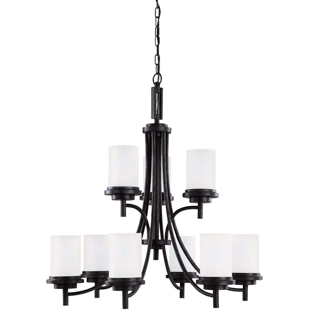 Sea Gull 31662BLE-839 Winnetka 9 Light 32 inch Blacksmith Chandelier Multi-Tier Ceiling Light in Satin Etched Glass, Fluorescent photo