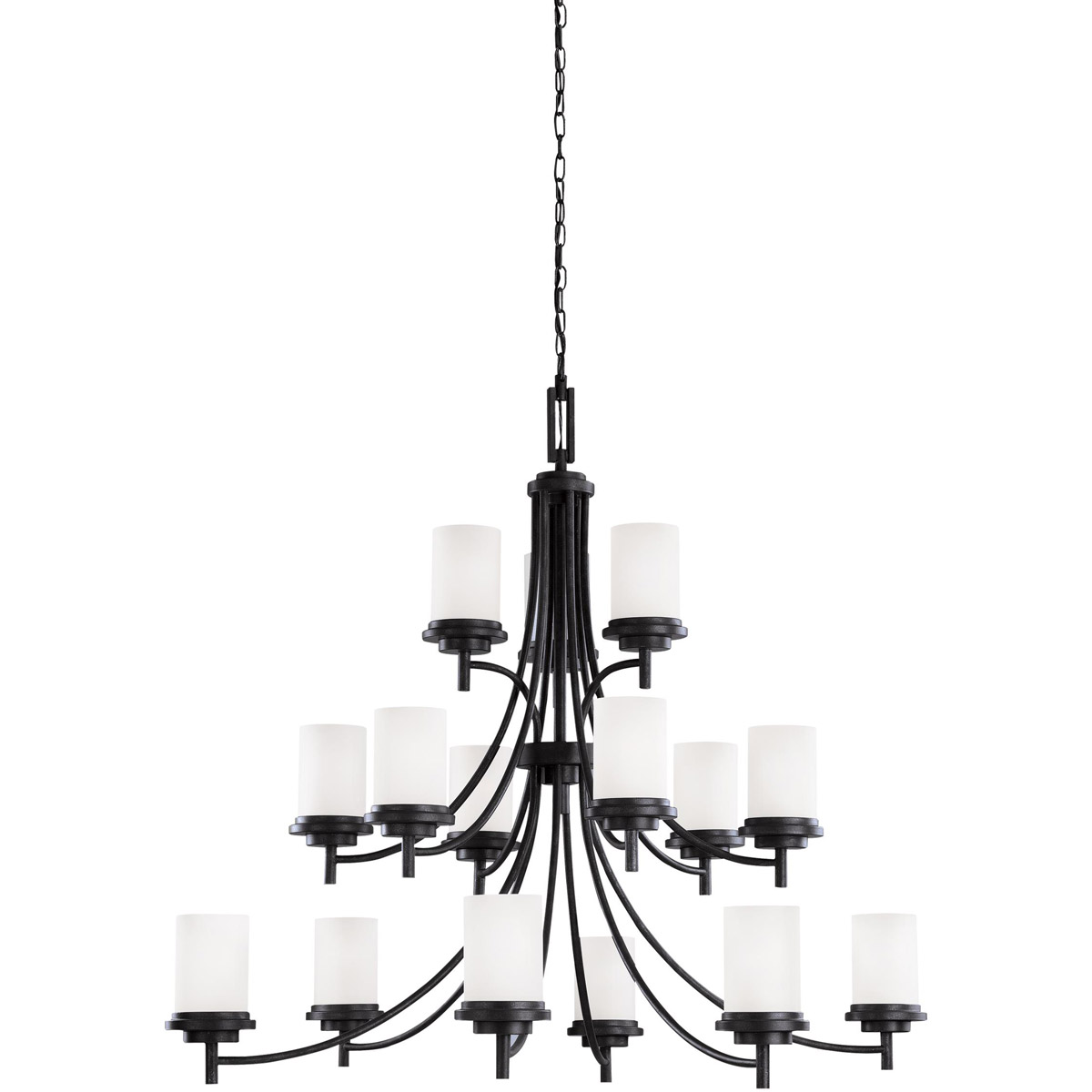 Sea Gull 31663BLE-839 Winnetka 15 Light 47 inch Blacksmith Chandelier Multi-Tier Ceiling Light in Satin Etched Glass, Fluorescent photo
