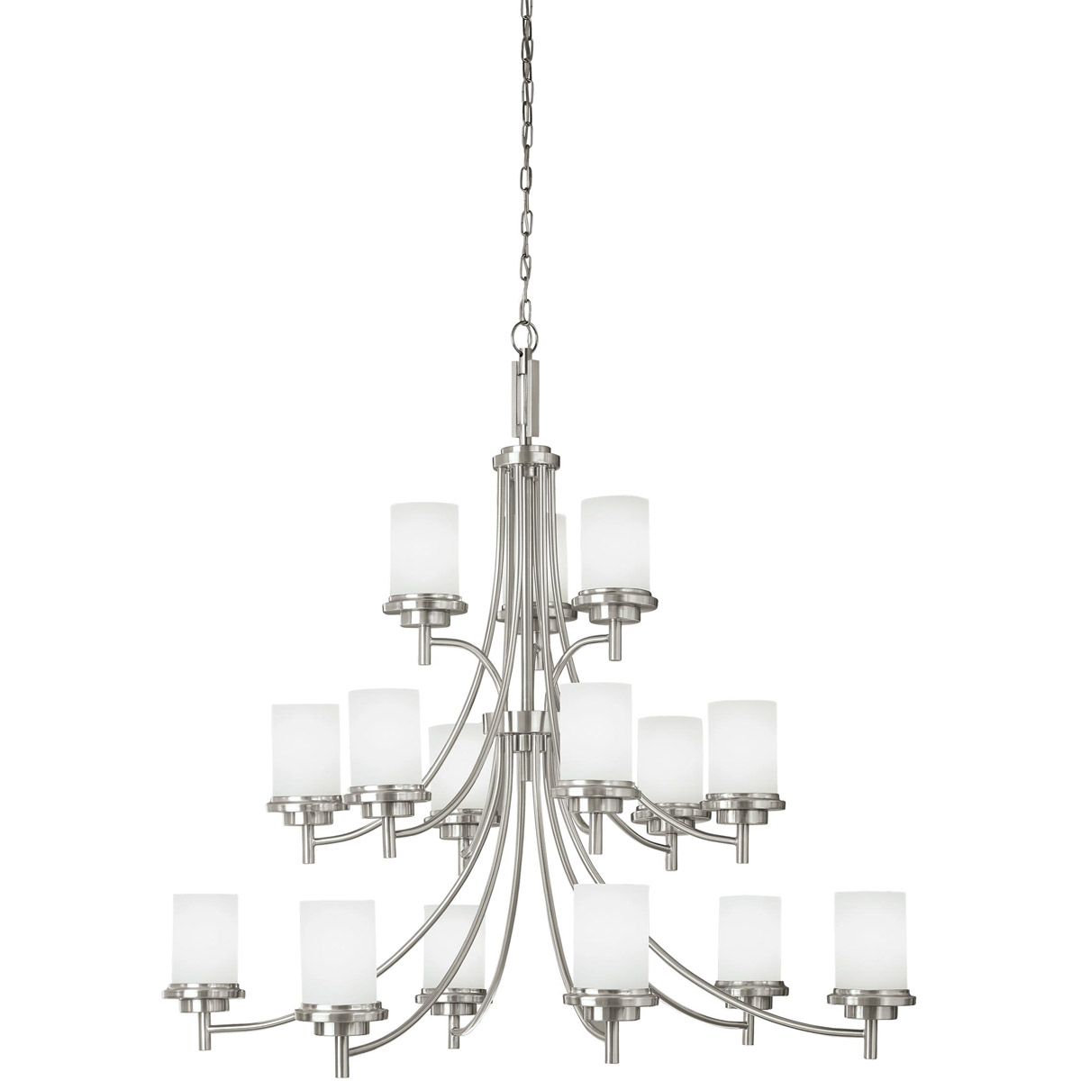 Sea Gull 31663-962 Winnetka 15 Light 47 inch Brushed Nickel Chandelier Multi-Tier Ceiling Light in Satin Etched Glass, Standard photo