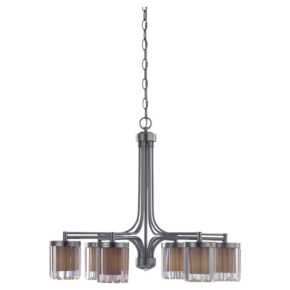 Sea Gull Lighting Nuit Noir Crystal 6 Light Chandelier in Brushed Chrome 31692-863