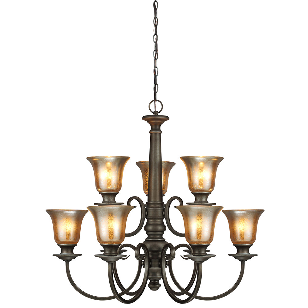 Sea Gull Blayne 9 Light Chandelier Single-Tier in Platinum Oak 3170409-736