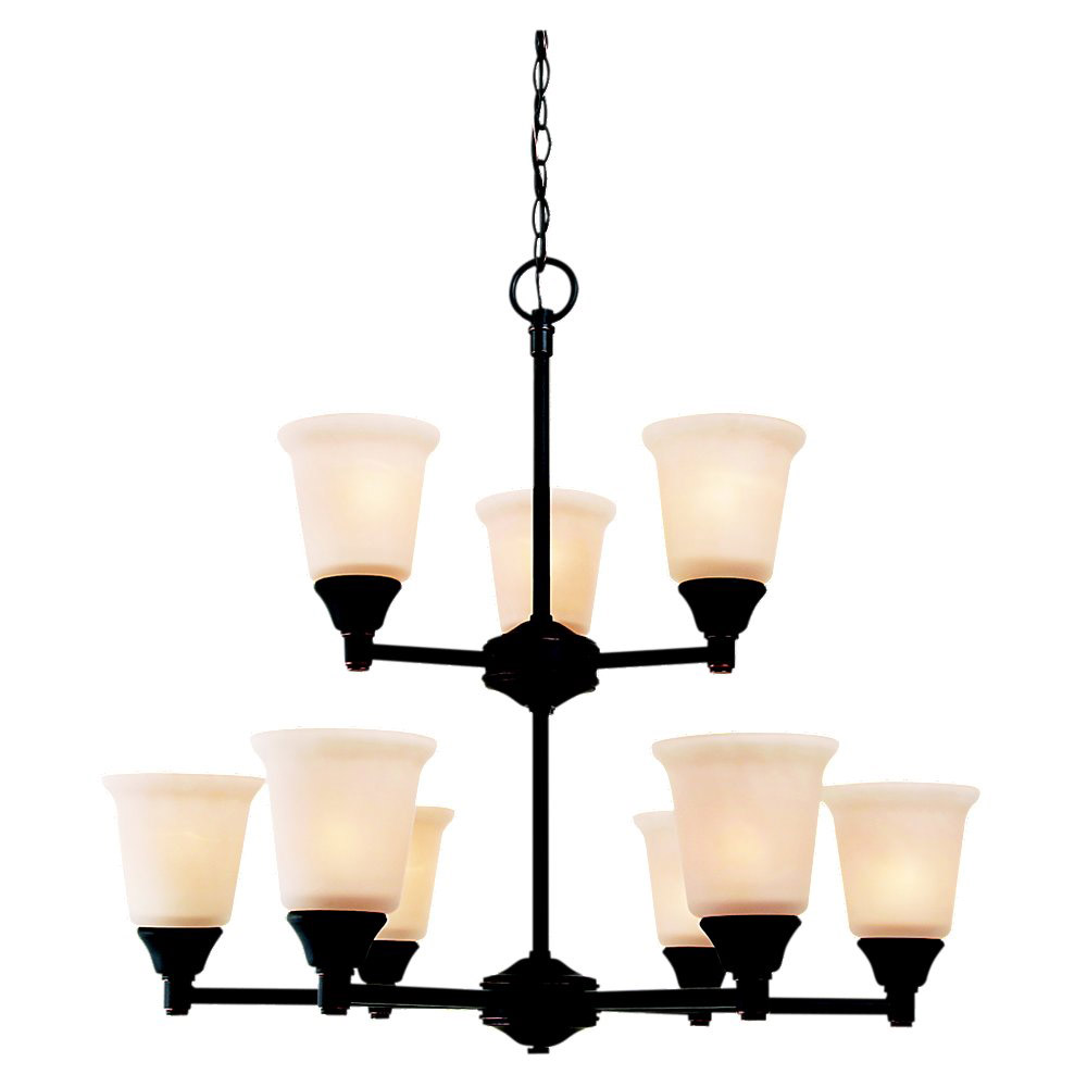 Sea Gull Lighting Belair 9 Light Chandelier in Vintage Brown 31792-862 photo