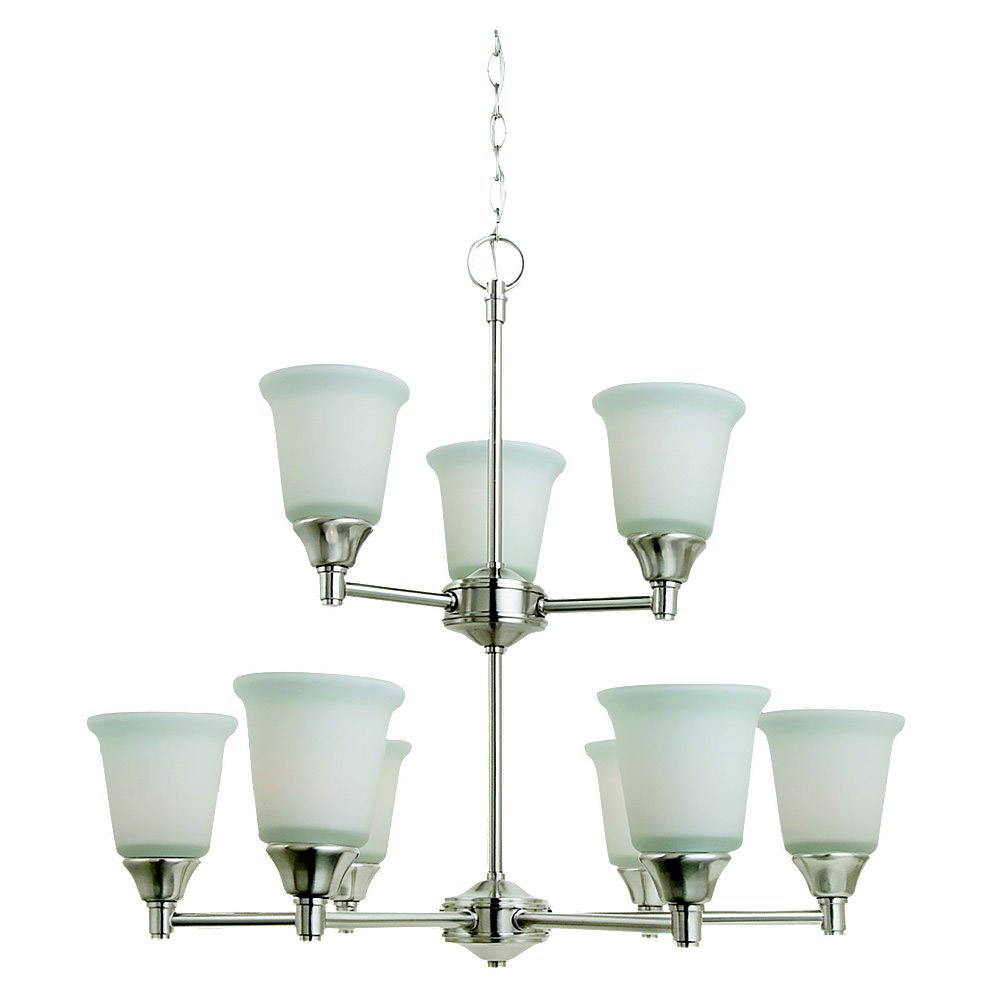 Sea Gull Lighting Belair 9 Light Chandelier in Brushed Nickel 31792-962
