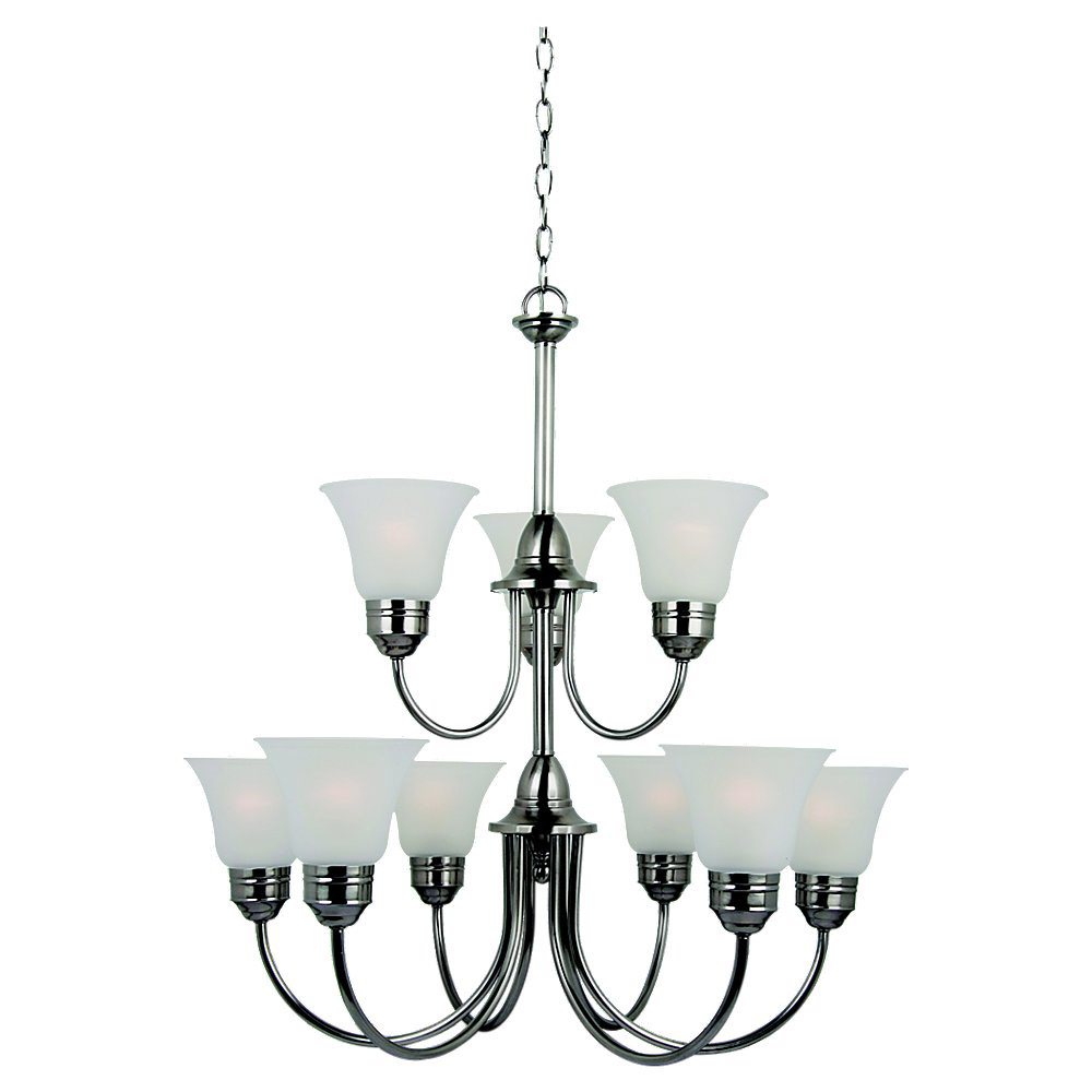 Sea Gull 31852-965 Gladstone 9 Light 30 inch Antique Brushed Nickel Chandelier Ceiling Light in Satin Etched Glass, Standard photo