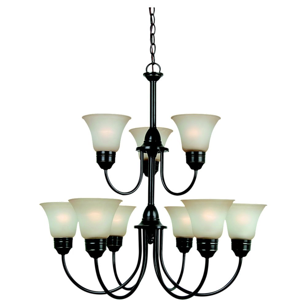 Sea Gull 31852BLE-782 Gladstone 9 Light 30 inch Heirloom Bronze Chandelier Ceiling Light in Smokey Amber Glass, Fluorescent photo