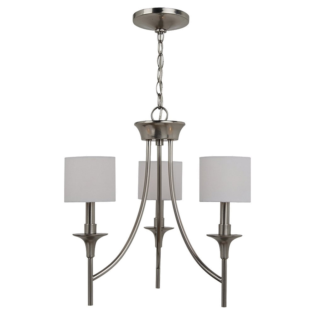 Sea Gull 31932-962 Stirling 3 Light 19 inch Brushed Nickel Chandelier Ceiling Light in White Linen Fabric photo