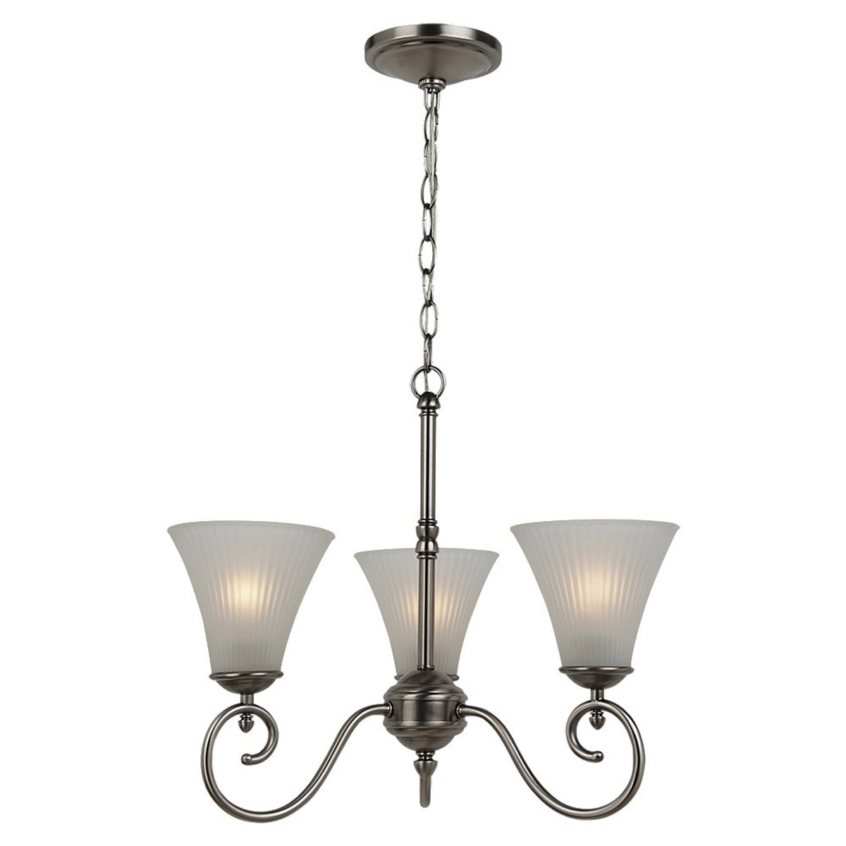 Sea Gull Lighting Joliet 3 Light Chandelier in Antique Brushed Nickel 31935-965