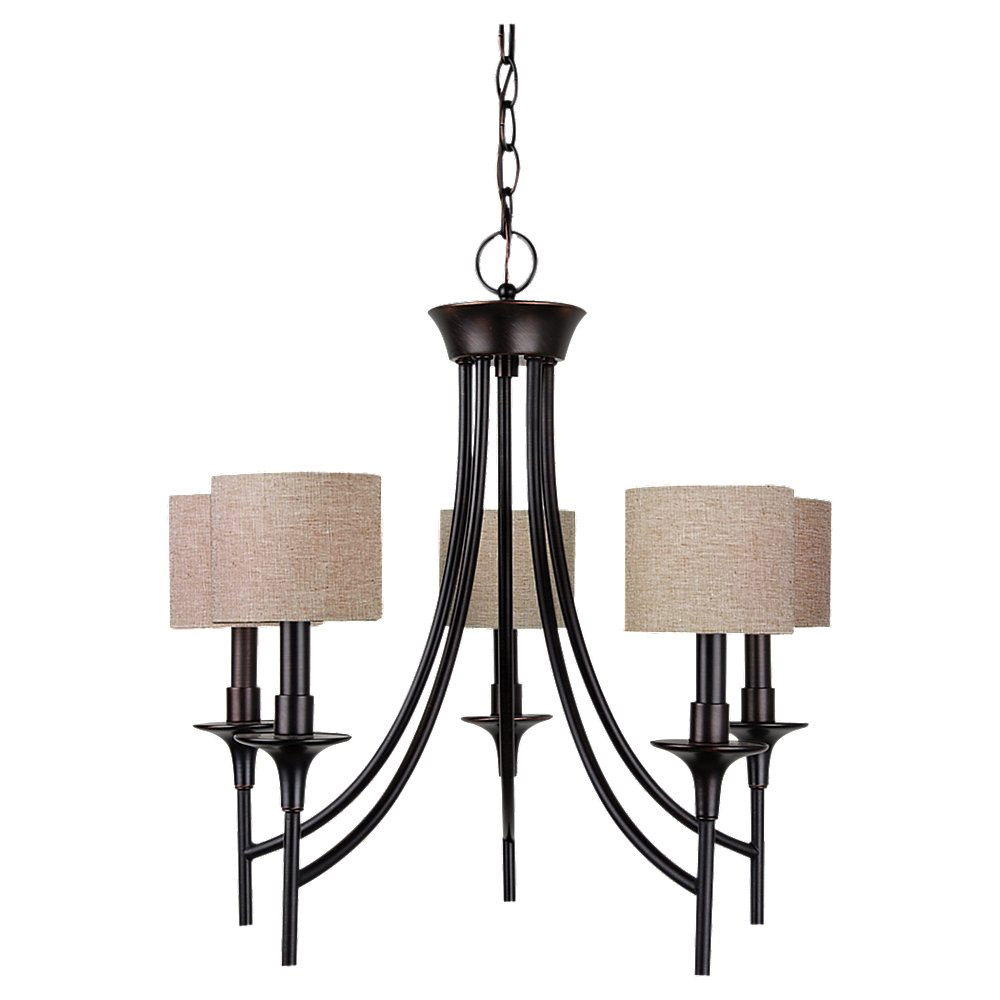 Sea Gull 31942-710 Stirling 5 Light 23 inch Burnt Sienna Chandelier Ceiling Light in Beige Linen Fabric photo