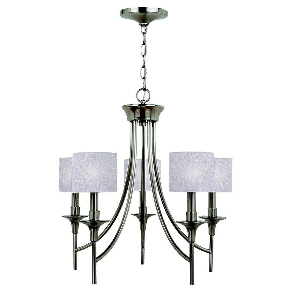 Sea Gull 31942-962 Stirling 5 Light 23 inch Brushed Nickel Chandelier Ceiling Light in White Linen Fabric photo