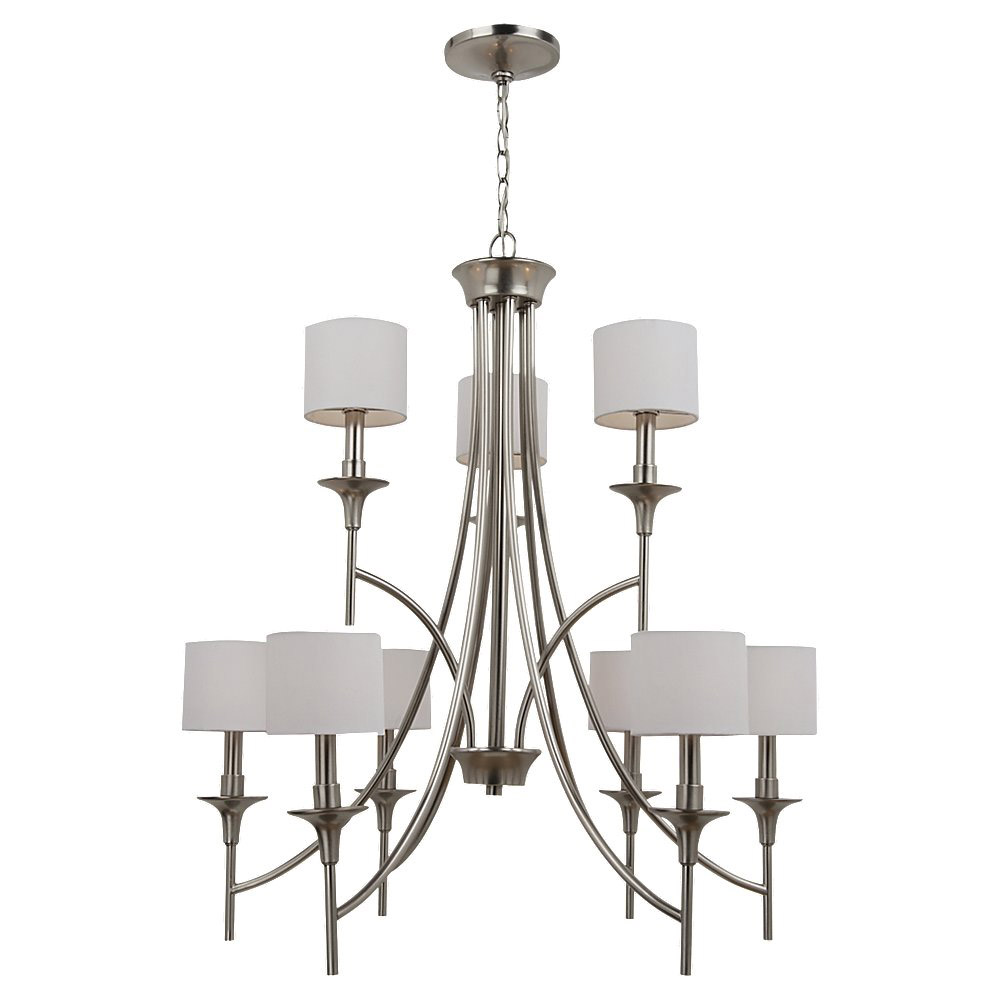 Sea Gull 31952-962 Stirling 9 Light 30 inch Brushed Nickel Chandelier Ceiling Light in White Linen Fabric photo
