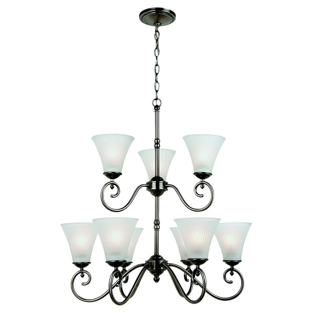 Sea Gull Lighting Joliet 9 Light Chandelier in Antique Brushed Nickel 31955-965