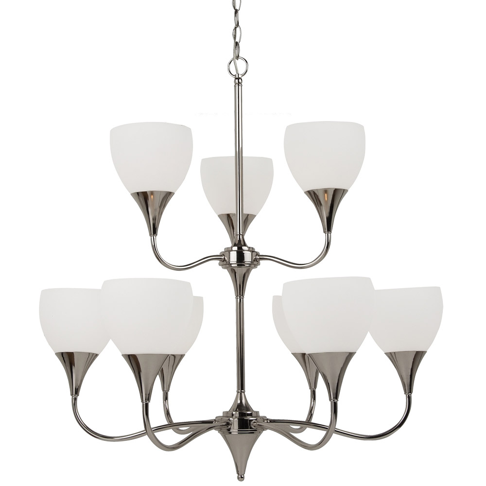 Sea Gull Lighting Solana 9 Light Chandelier in Polished Nickel 31971BLE-841