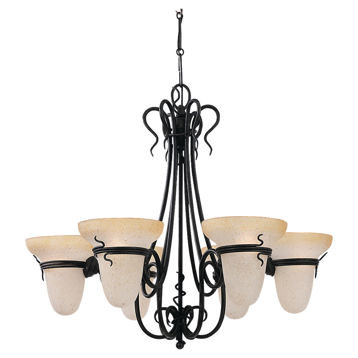 Sea Gull 3211-185 Saranac Lake 6 Light 32 inch Forged Iron Chandelier Ceiling Light photo