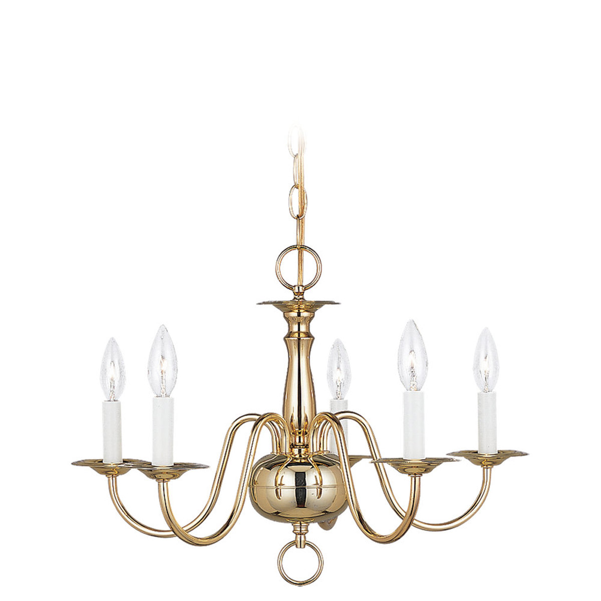 Sea Gull Lighting Traditional 5 Light Chandelier in Polished Brass 3313-02