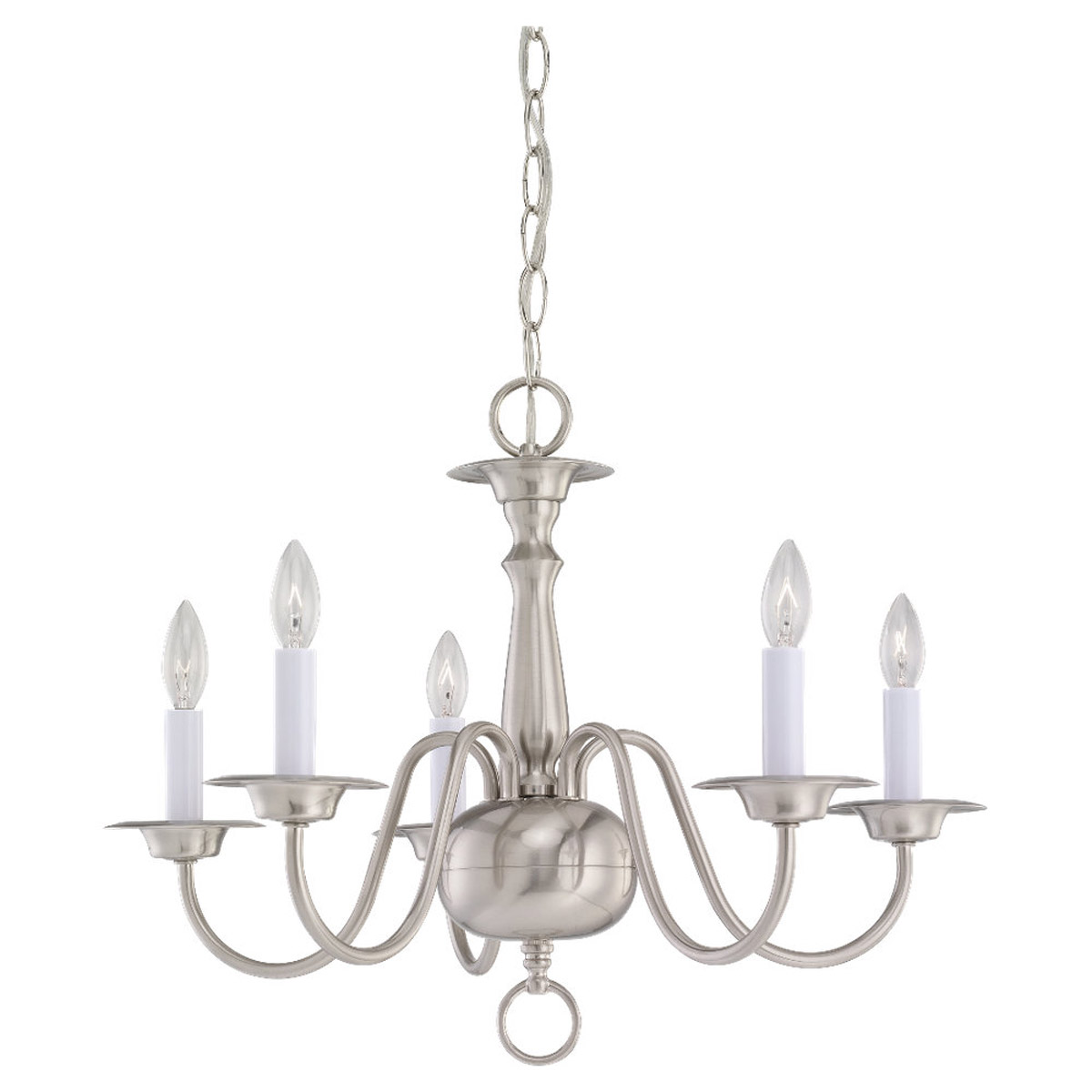 Sea Gull Lighting Traditional 5 Light Chandelier in Brushed Nickel 3313-962