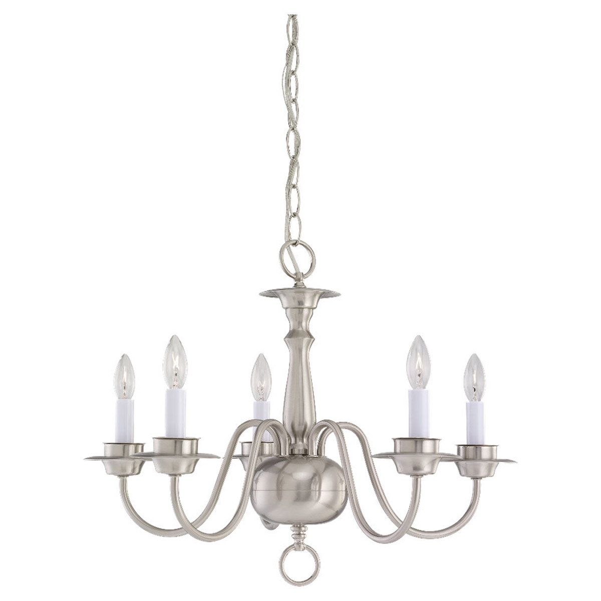 Sea Gull Lighting Traditional 5 Light Chandelier in Brushed Nickel 3314-962