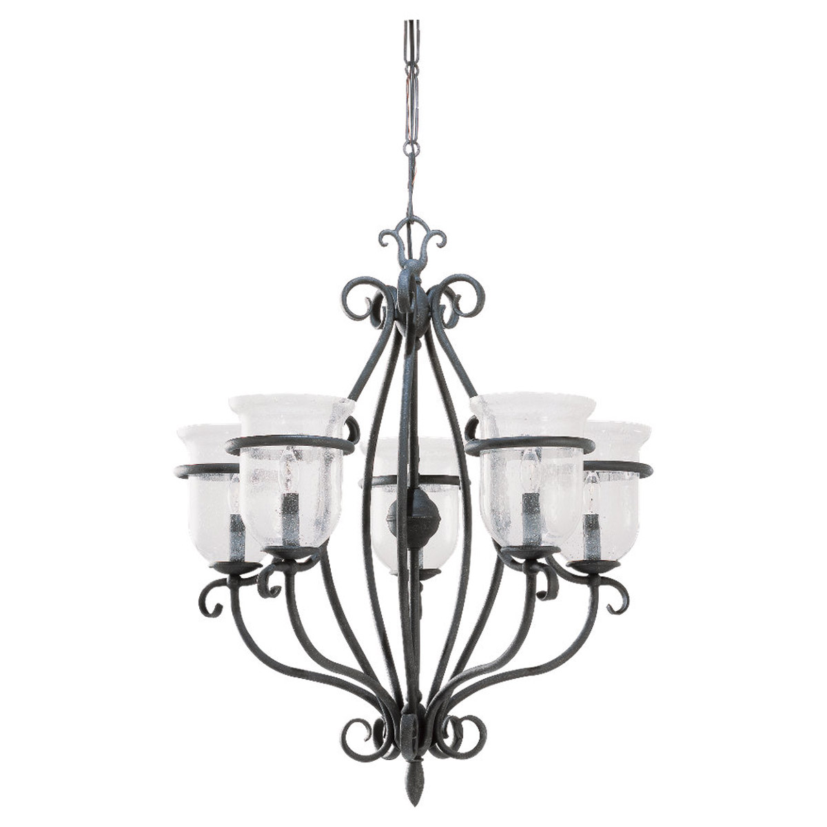 Sea Gull 3401-07 Manor House 5 Light 26 inch Weathered Iron Chandelier Ceiling Light photo