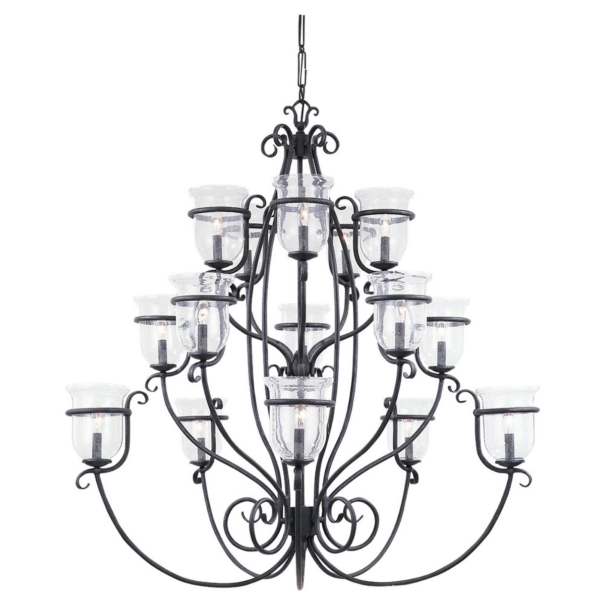Sea Gull Lighting Manor House 15 Light Chandelier in Weathered Iron 3405-07