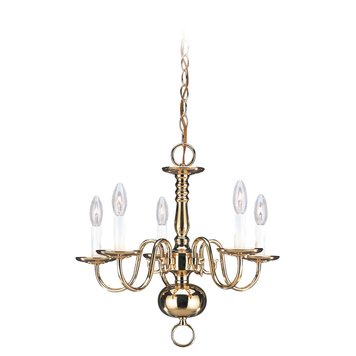 Sea Gull Lighting Traditional 5 Light Chandelier in Polished Brass 3409-02