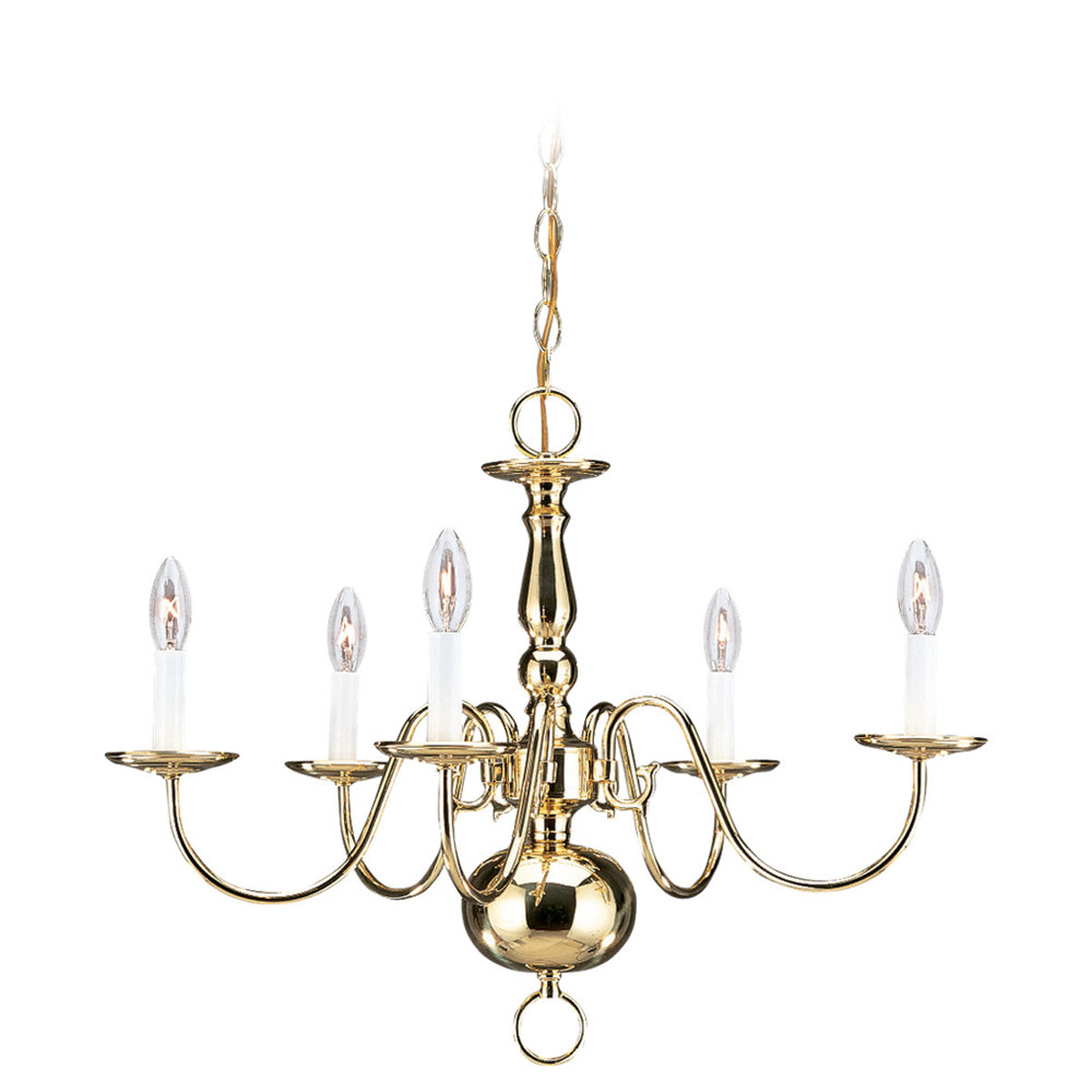 Sea Gull 3410-02 Traditional 5 Light 24 inch Polished Brass Chandelier Ceiling Light photo