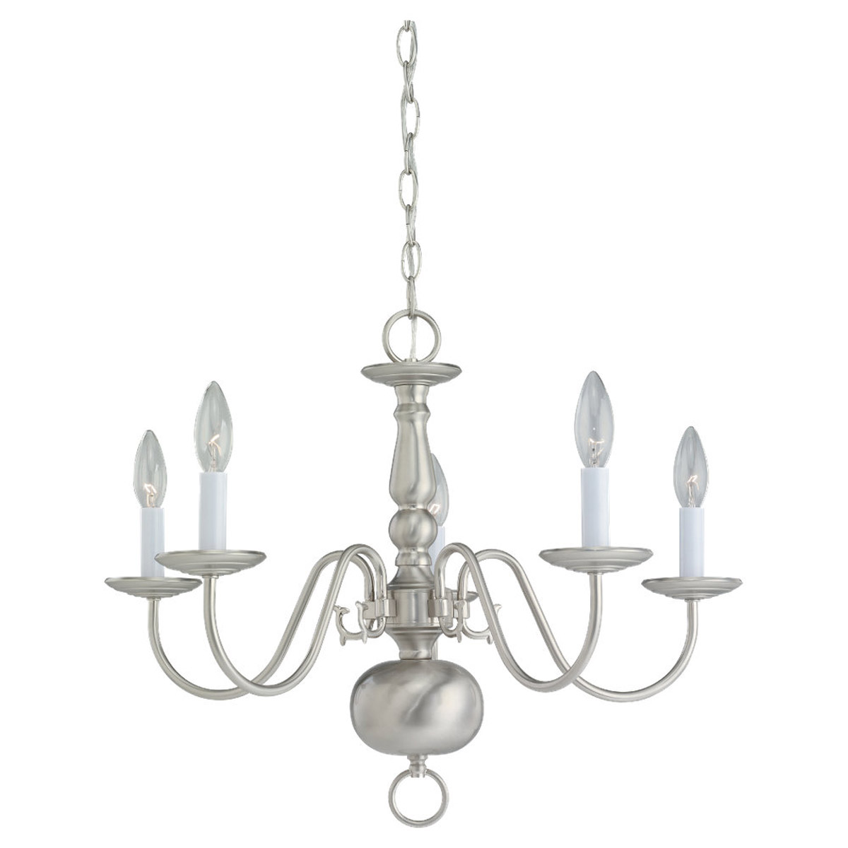 Sea Gull Lighting Traditional 5 Light Chandelier in Brushed Nickel 3410-962