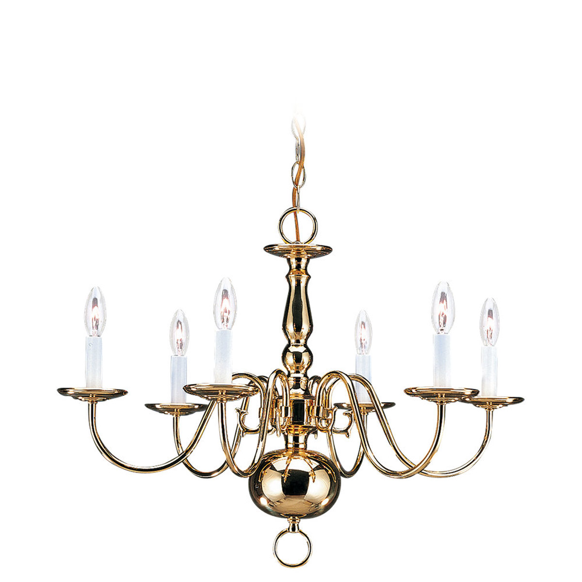 Sea Gull 3411-02 Traditional 6 Light 24 inch Polished Brass Chandelier Ceiling Light photo