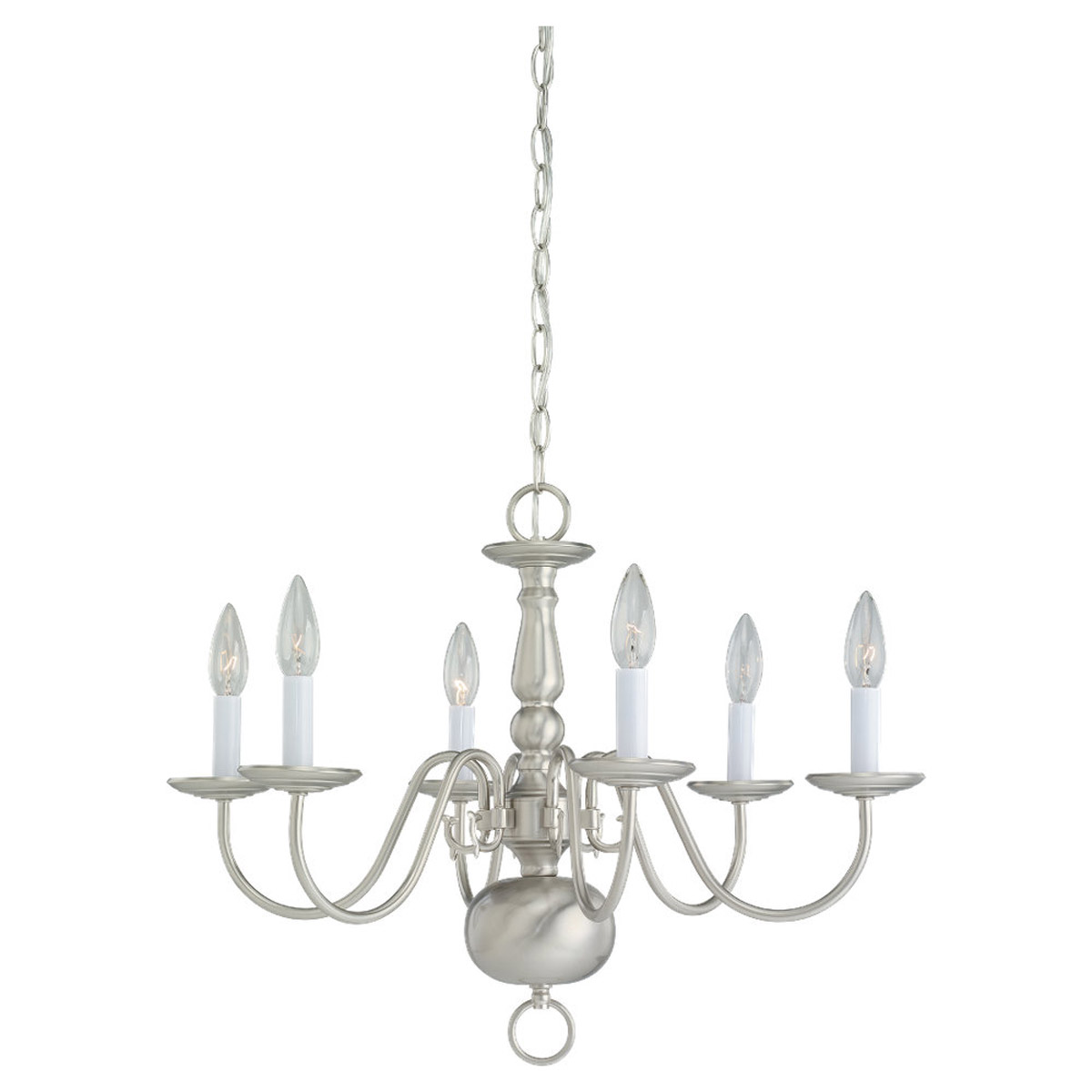 Sea Gull Lighting Traditional 6 Light Chandelier in Brushed Nickel 3411-962