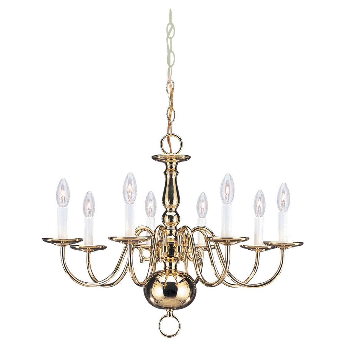 Sea Gull Lighting Traditional 8 Light Chandelier in Polished Brass 3412-02