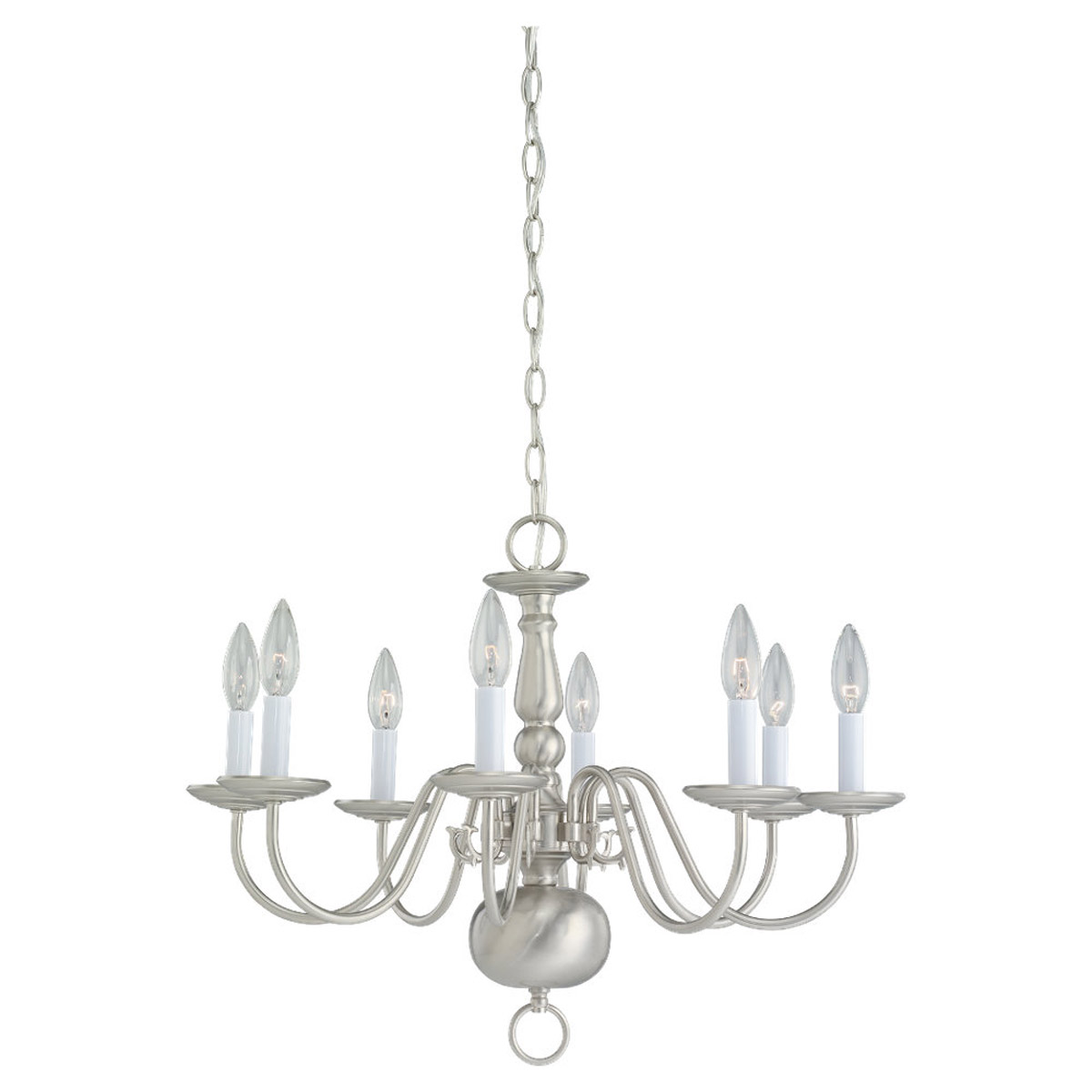 Sea Gull Lighting Traditional 8 Light Chandelier in Brushed Nickel 3412-962