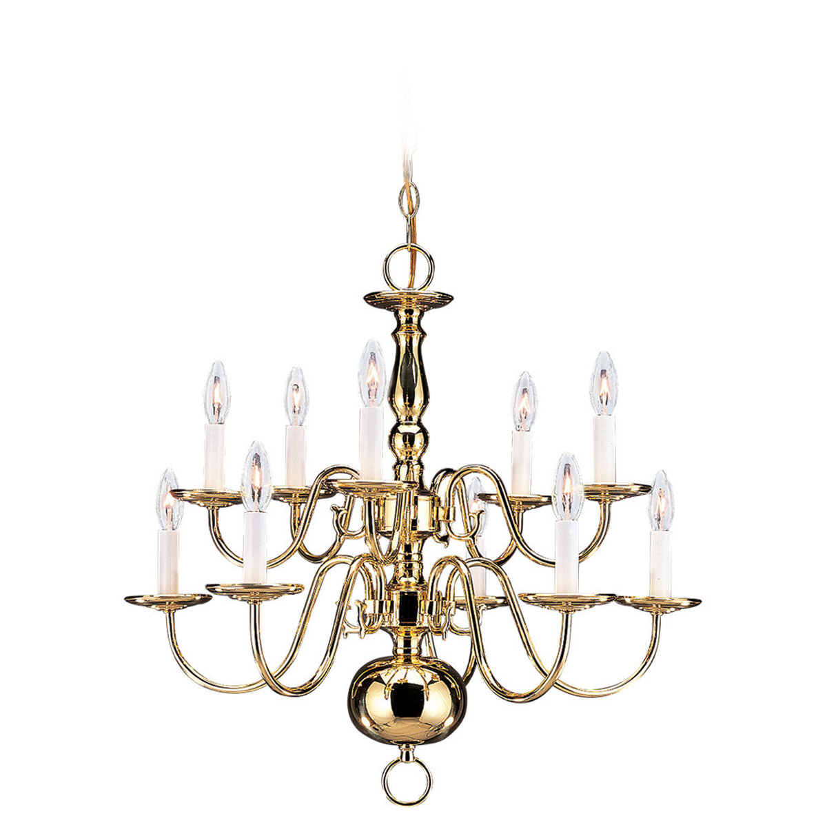 Sea Gull 3413-02 Traditional 10 Light 24 inch Polished Brass Chandelier Ceiling Light photo