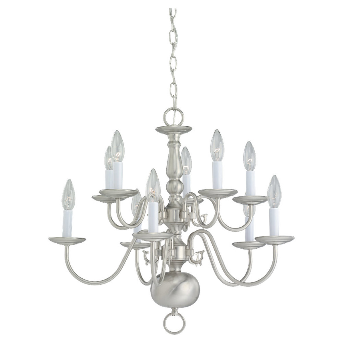 Sea Gull Lighting Traditional 10 Light Chandelier in Brushed Nickel 3413-962
