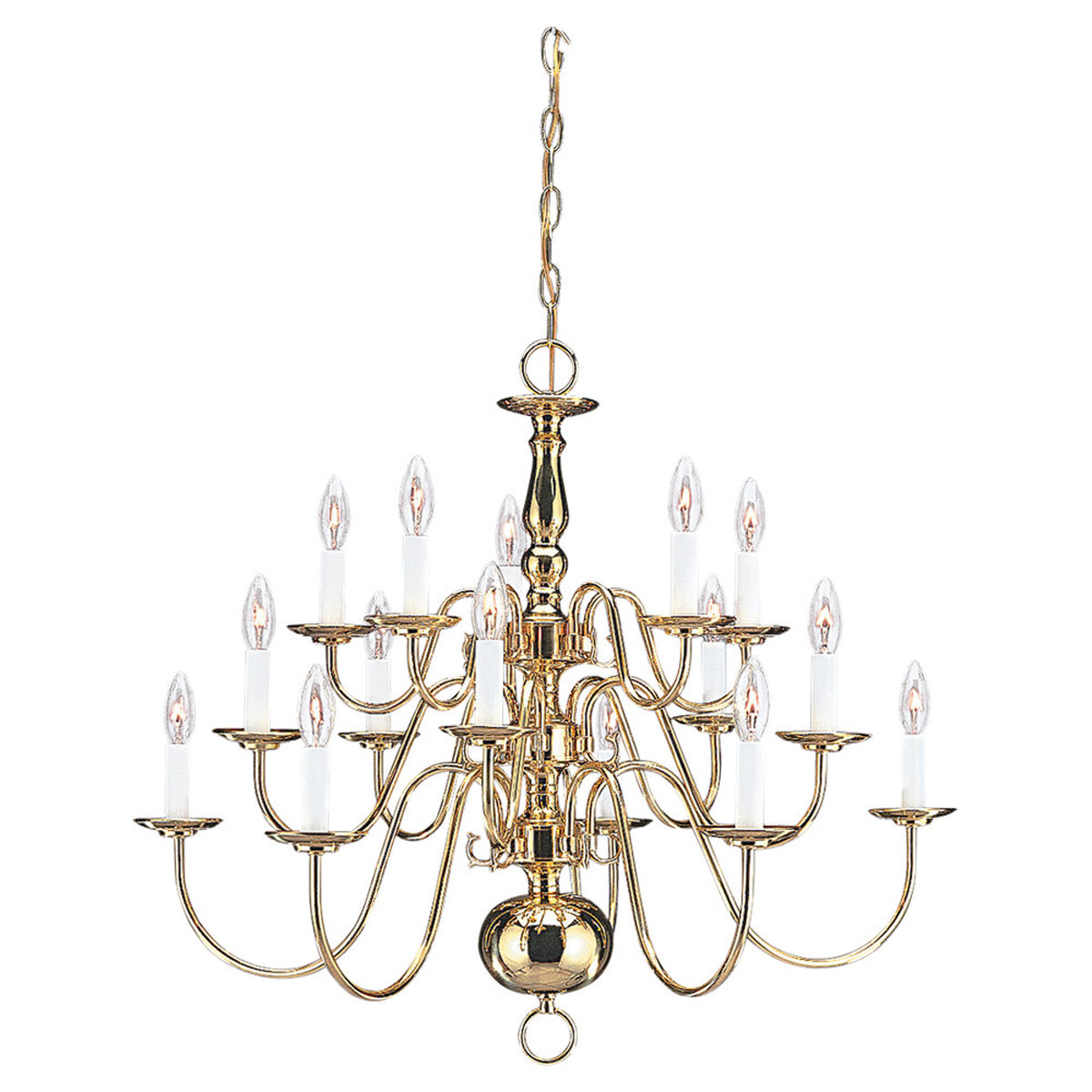 Sea Gull Lighting Traditional 15 Light Chandelier in Polished Brass 3414-02