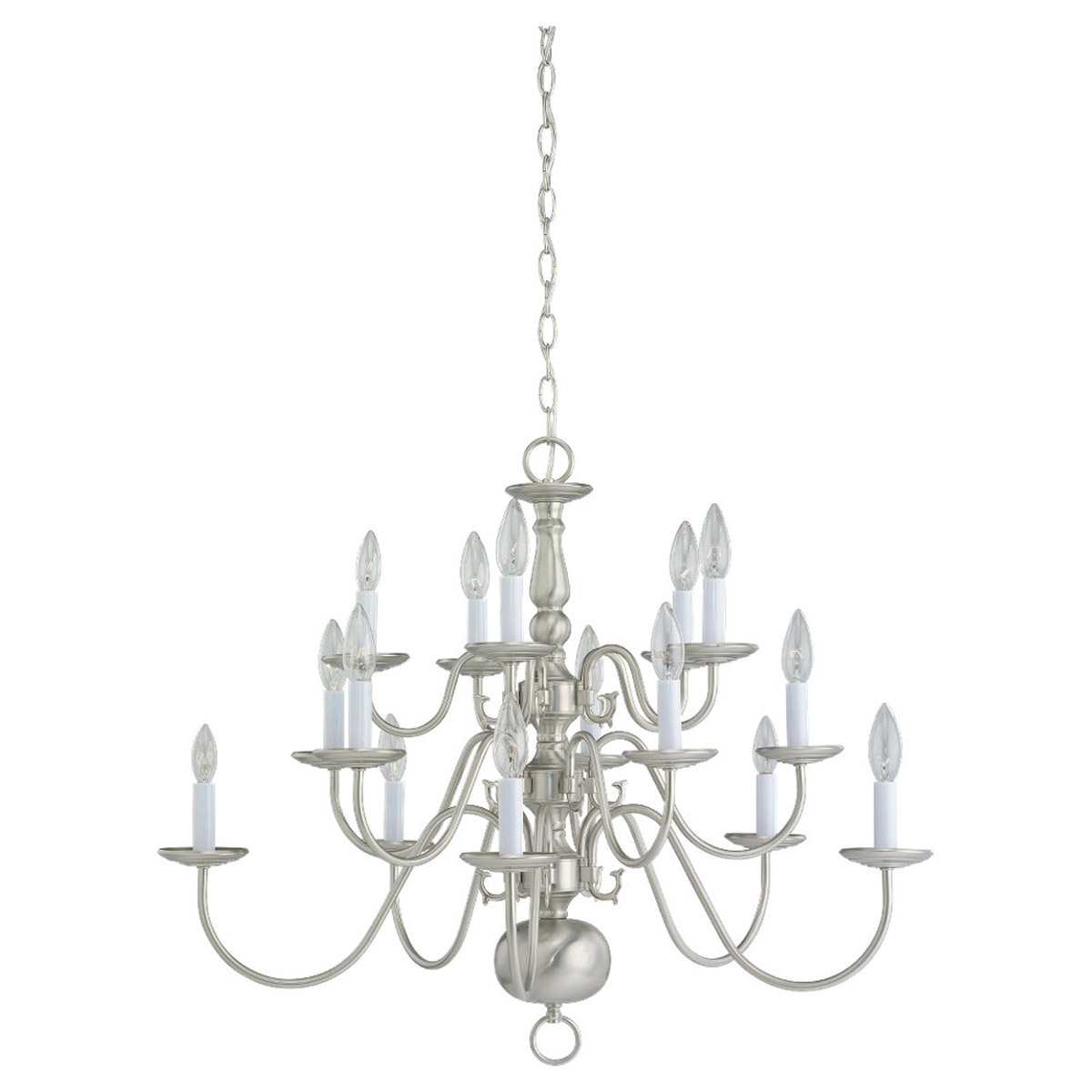 Sea Gull Lighting Traditional 15 Light Chandelier in Brushed Nickel 3414-962